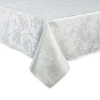 Christmas Ribbons 60 Inch X 120 Inch Oval Tablecloth In White
