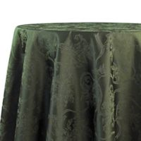 Christmas Ribbons 90-Inch Round Tablecloth in Olive