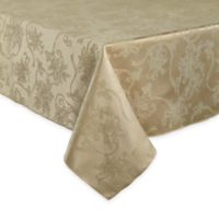 Christmas Ribbons 60-Inch x 120-Inch Oval Tablecloth in Gold