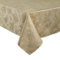 Christmas Ribbons 60-Inch x 144-Inch Oblong Tablecloth in Gold
