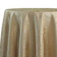 Christmas Ribbons 70-Inch Round Tablecloth in Gold