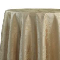 Christmas Ribbons 90-Inch Round Tablecloth in Gold