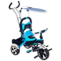 Lil' Rider 2-in-1 Stroller Tricycle Child-Safe Trike Trainer in Blue