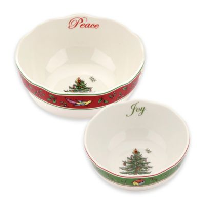 spode christmas tree 2piece vintage scalloped bowl set