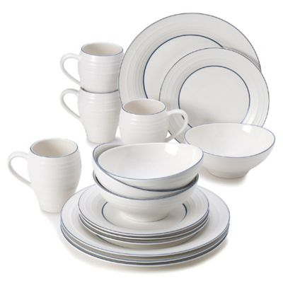 Mikasa® Swirl Banded 16-Piece Dinnerware Set in Blue  sc 1 st  Bed Bath u0026 Beyond & Buy Blue Casual Dinnerware Sets from Bed Bath u0026 Beyond