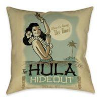 Hula Hideout Indoor/Outdoor Throw Pillow in Beige/Blue