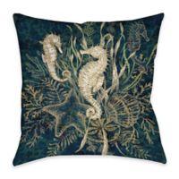 Seahorse Indoor/Outdoor Throw Pillow in Green