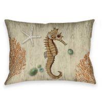Vintage Seaside Seahorse Indoor/Outdoor Throw Pillow in Beige