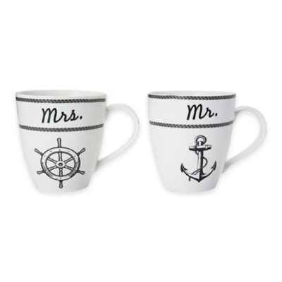 "Pfaltzgraff® ""Mr."" and ""Mrs."" Nautical Mugs (Set of 2)"