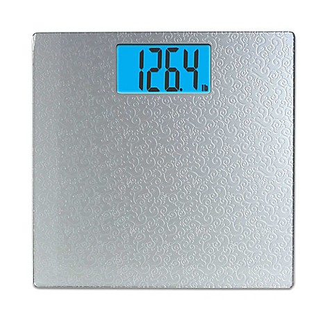 taylor digital bathroom scale with scroll design in silver - bed
