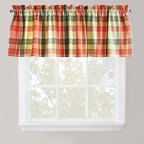 plaid delight window valance in tangelo bed bath beyond. Black Bedroom Furniture Sets. Home Design Ideas