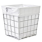 Manhattan Open Wire Tapered Wastebasket with White Canvas Liner
