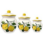 Lorren Home Trends Lemon Design 3-Piece Deluxe Canister Set