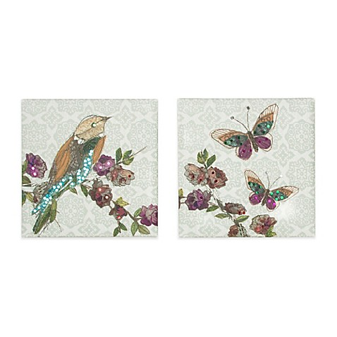 Bird And Butterfly Sequins Canvas Print Wall Art Bed