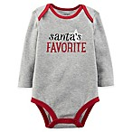 carter's® Newborn  Santa's Favorite  Long Sleeve Bodysuit in Grey/Red