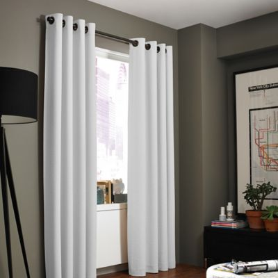 kenneth cole reaction home gotham texture 63inch lined grommet window curtain panel in white
