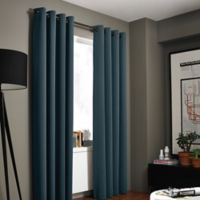 Kenneth Cole Reaction Home Gotham Texture 63-Inch Lined Grommet Window Curtain Panel in Azure