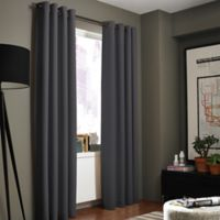 Kenneth Cole Reaction Home Gotham Texture 108-Inch Lined Grommet Window Curtain Panel in Charcoal