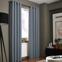 Kenneth Cole Reaction Home Gotham Texture 84-Inch Lined Grommet Window Curtain Panel in Blue Smoke