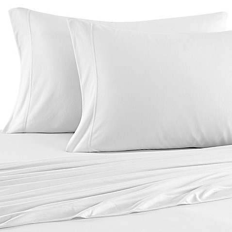 Buy Brushed Knit Jersey Twin Sheet Set in Navy from Bed ...