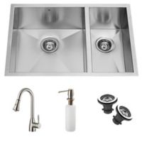 Vigo 5-Piece VG15026 22.3-Inch x 33-Inch Undermount Stainless Steel Double Sink and Faucet Set