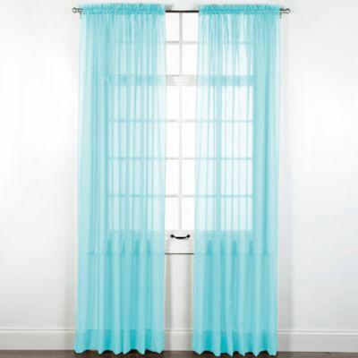 Elegance Sheer 84 Inch Window Curtain Panel In Aqua