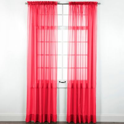 Elegance Sheer 84 Inch Window Curtain Panel In Ruby