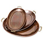 Old Dutch International Décor Antique Copper 3-Piece Oval Tray Set