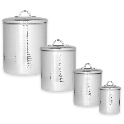 Old Dutch International Hammered Stainless Steel 4 Piece Canister Set