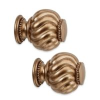 Cambria® Premier Twist Ball Finials in Warm Gold (Set of 2)