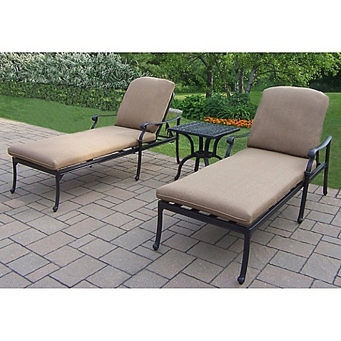 Oakland living clairmont 3 piece chaise lounge set bed for Bathroom chaise lounge