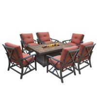 Oakland Living Verona Gas Fire Pit Conversation Set with 6 Rocker Chairs
