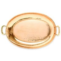 Old Dutch International 17-Inch x 13-Inch Hammered Oval Copper-Plated Tray