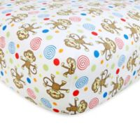 Trend Lab® Monkeys Flannel Fitted Crib Sheet in White