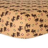 Trend Lab® Northwoods Flannel Fitted Bear and Moose Crib Sheet in Tan/Brown