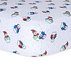 Trend Lab® Snowman Flannel Fitted Crib Sheet in Blue/Green/Red