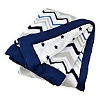 Just Born® Classic Collection Chevron/Star Blanket in Navy