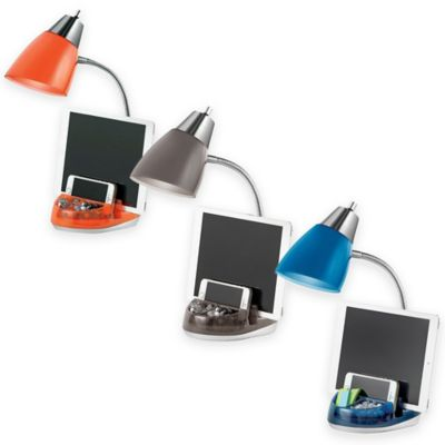 Desk lamp that keeps you organized and includes a USB charger