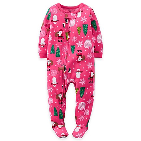 Carter S 174 Christmas Fleece Footed Pajama In Pink Buybuy