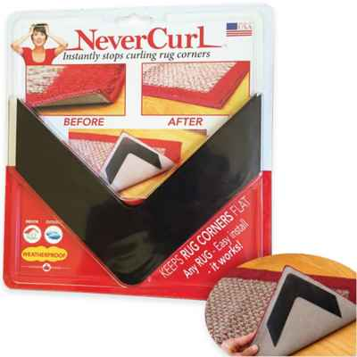 NeverCurl 4-Piece Indoor/Outdoor Anti-Curl Rug Corners