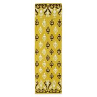 Kaleen Glam Damask 2-Foot 6-Inch x 8-Foot Runner in Yellow