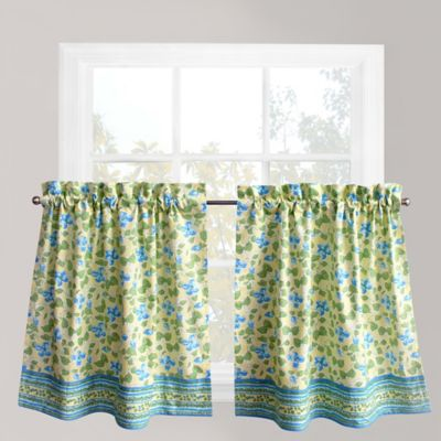 Wonderful Park B. Smith Boutique Flowers 24 Inch Window Curtain Tier Pair In Blue
