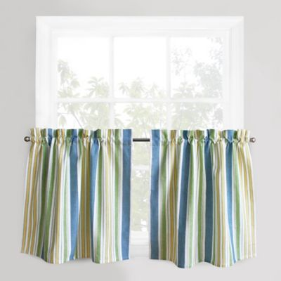 Park B. Smith Cape Cod Stripe 24 Inch Window Curtain Tier Pair In Blue
