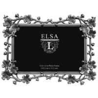 Elsa L. 4-Inch x 6-Inch Cherry Blossom Picture Frame in Antique Silver