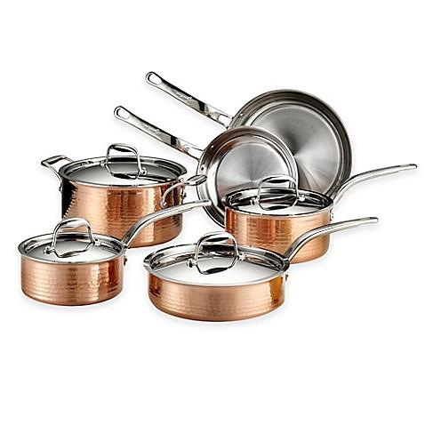 Lagostina Martellata Tri Ply Copper 10 Piece Cookware Set