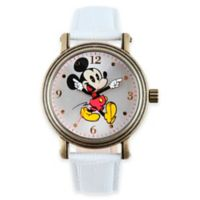 Disney® Ladies' 38mm Vintage Mickey Mouse Watch with White Strap