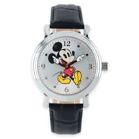 Disney® Ladies' 38mm Vintage Mickey Mouse Watch with Black Strap