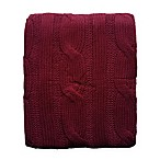 Cable Knit Throw in Burgundy