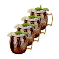 Old Dutch International Antique Solid Copper Hammered Moscow Mule Mugs (Set of 4)