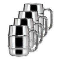 Old Dutch International Keep-Kool Double-Walled Keg-Style Stainless Steel Mugs (Set of 4)